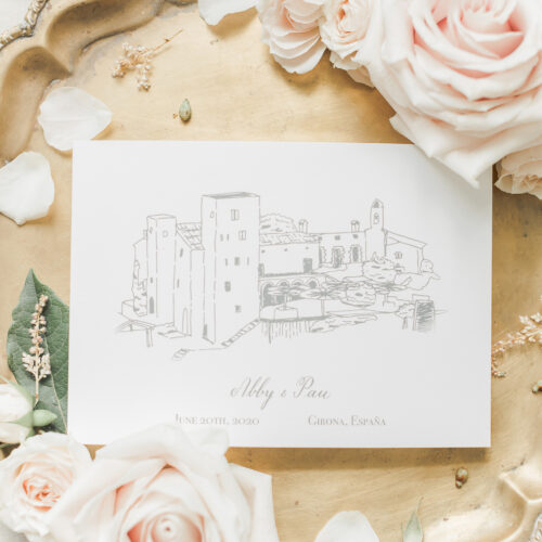 Save the Date Wedding Announcement with Calligraphy and Venue Illustration Castle Spain at Enchanted Rock in Austin Texas by CalliRosa