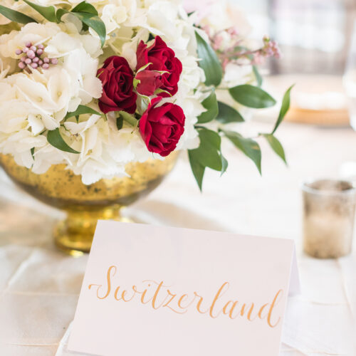 Switzerland Country Table Number Gold Calligraphy tented card Kendall Point CalliRosa