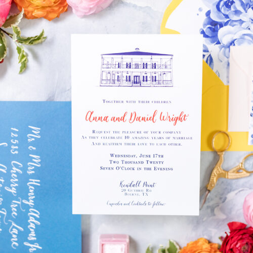 Vintage Blue Flowers with Bright Colors Vow Renewal Invitation Suite with Calligraphy at Kendall Point in Boerne Texas by CalliRosa