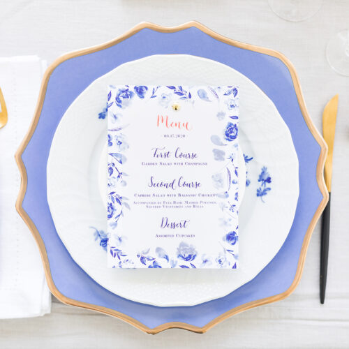 Vintage Blue Flowers with Bright Colors Vow Renewal Menu with Calligraphy and Vellum at Kendall Point in Boerne Texas by CalliRosa