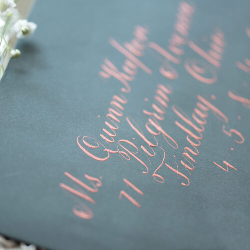 Vintage Green Envelope with Rose Gold Calligraphy in San Antonio by CalliRosa