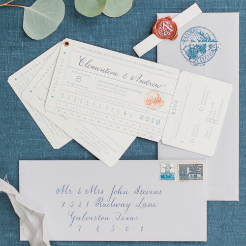 Vintage Orient Express Inspired Invitation Suite at Railroad Museum in Galveston Texas by CallIRosa