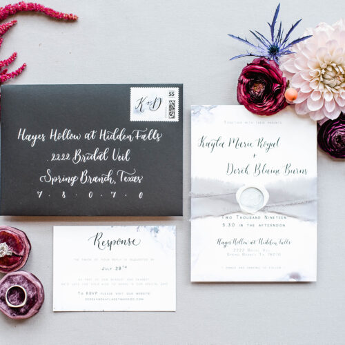 Watercolor Modern Black and White Invitation with Calligraphy For Hidden Falls Wedding in Spring Branch by CalliRosa