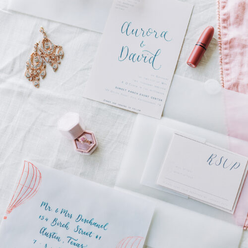 Whimsical Hot Air Balloon Inspired Vellum Invitation Suite with Calligraphy at Sunset Ranch Event Center by CalliRosa