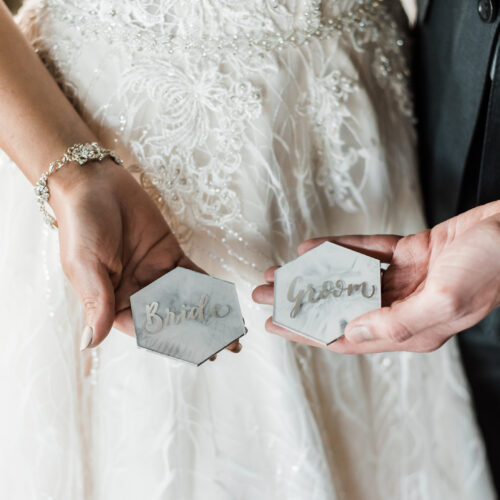 White and Grey Marbled Acrylic Place Cards Bride and Groom in Silver Calligraphy in San Antonio by CalliRosa