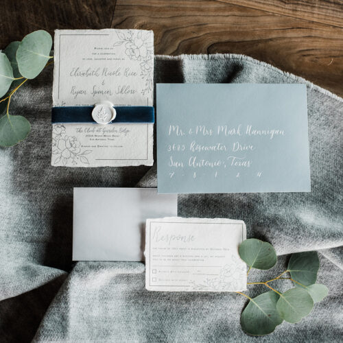 Wintery Grey and Blue Invitation with Botanical Line Drawings on Handmade Paper, with Velvet and Wax Seal Accents in San Antonio by CalliRosa